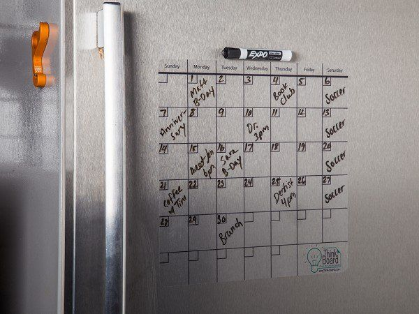 "This 14""x14"" dry erase calander, discovered by The Grommet, turns any surface into a dry erase calander board that can be repositioned to your liking."