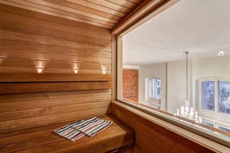 Sauna with a view over the loft apartment interiors