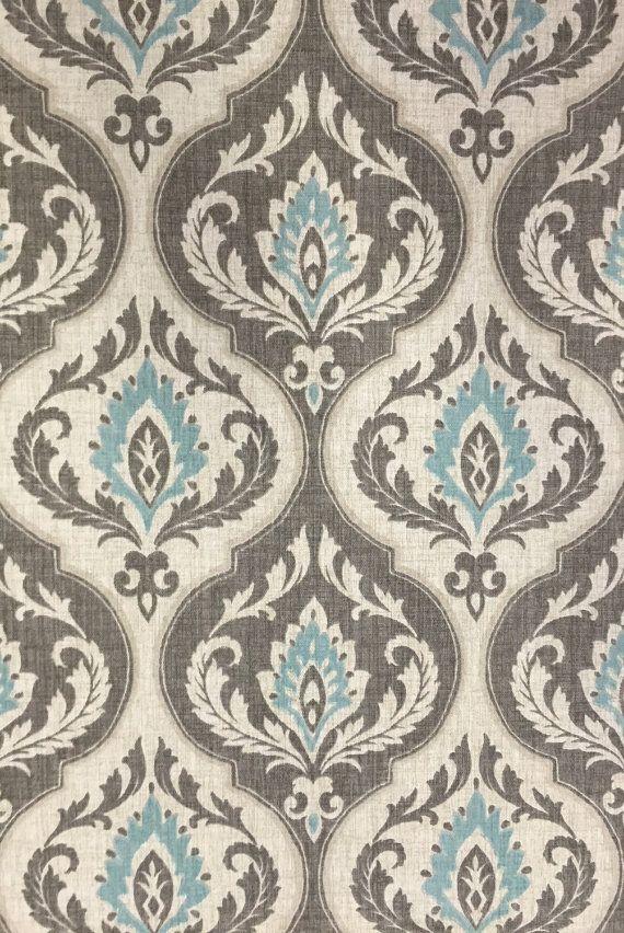 Aqua Gray Damask Fabric Modern Damask by ShopMyFabrics on Etsy
