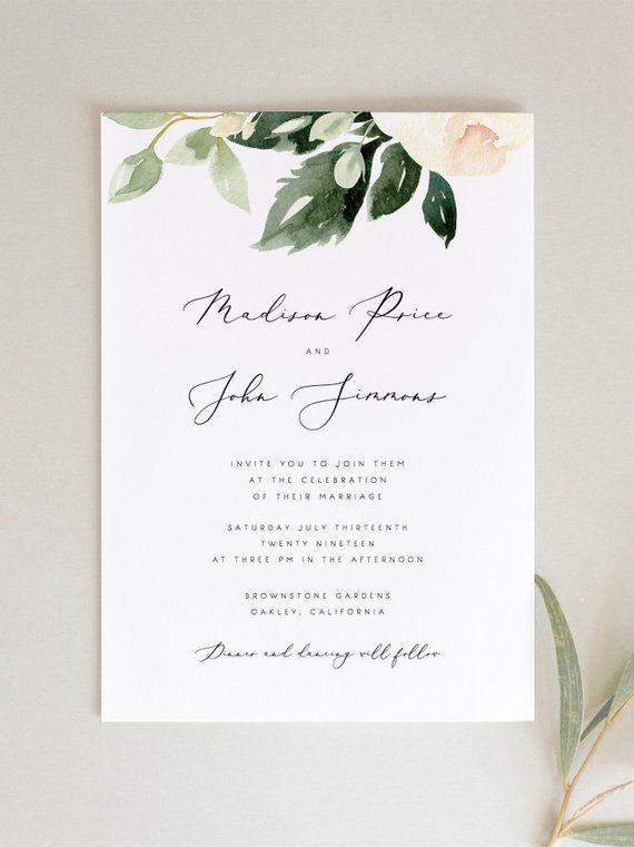 Blush Floral Wedding Invitation Template Pink Flowers Wedding | Etsy