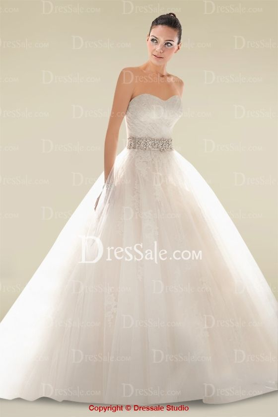 Charismatic Ball Gown Wedding Dress with Appliques and Beaded Waistline