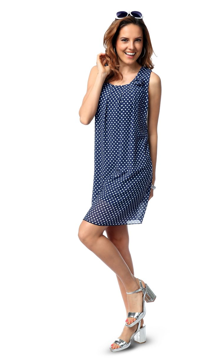 #kleid #blau #weiß #sommer #fruehling #punkte #awg #fashion #mode #outfit
