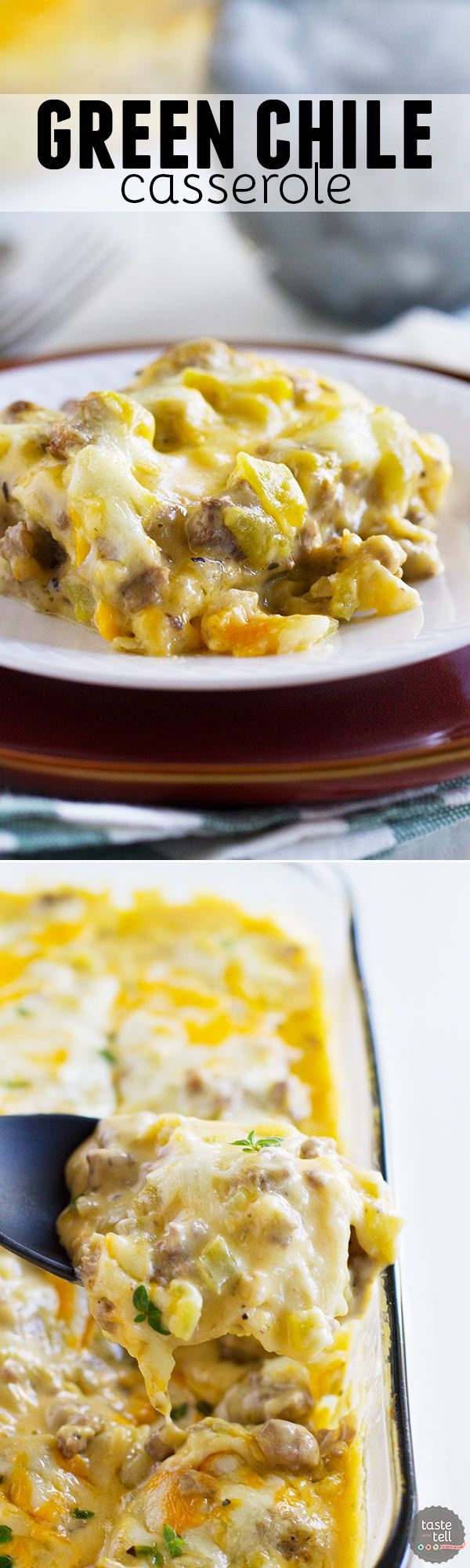 Comforting and creamy, this Green Chile Casserole is simple to prepare and reminds me of home.: