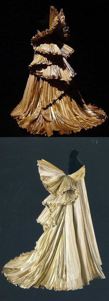 Roberto Capucci. This baroque angel of gold pleated dress is his vision of an angel ascending to heaven.
