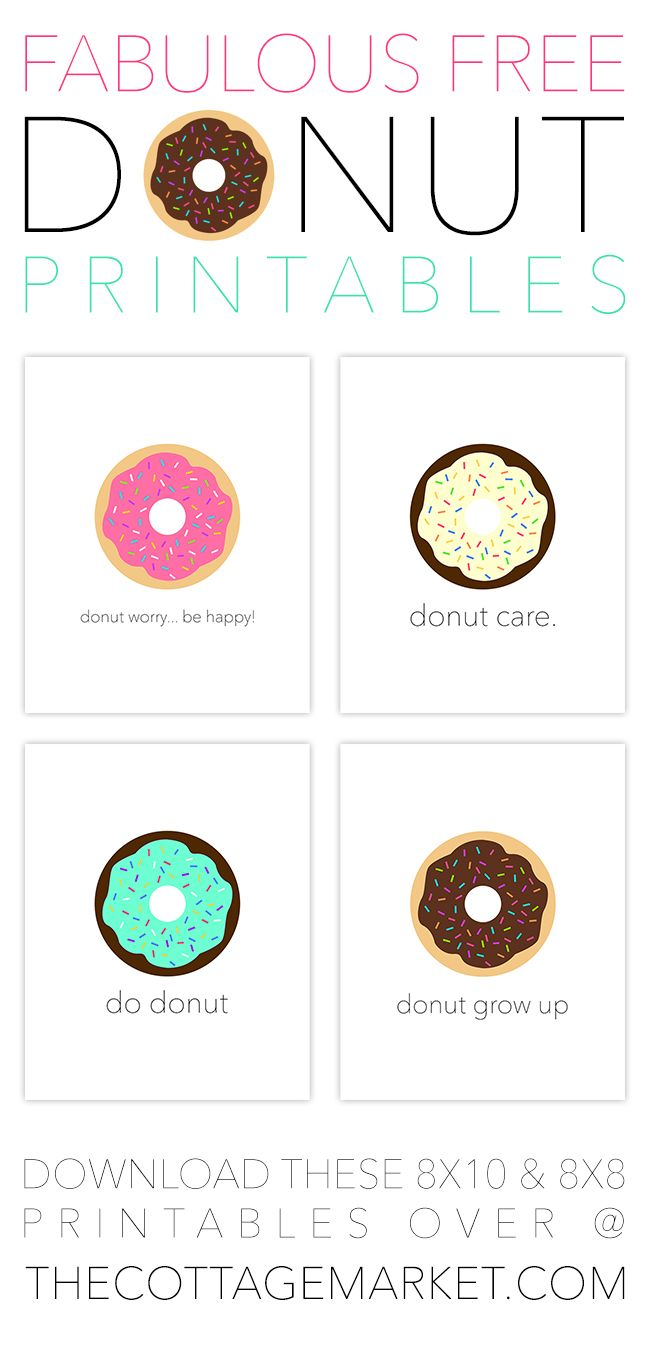 It's time to CELEBRATE National DONUT DAY!!!!!  But of course there is NEVER a bad time for DONUTS…these are special ones…you don't have to make them and they don't have any calories : )  They are just Fun and Fabulous Free Donut Printables!  Print 1…2…3 or all 4!  They compliment each other perfectly!  Sure to …