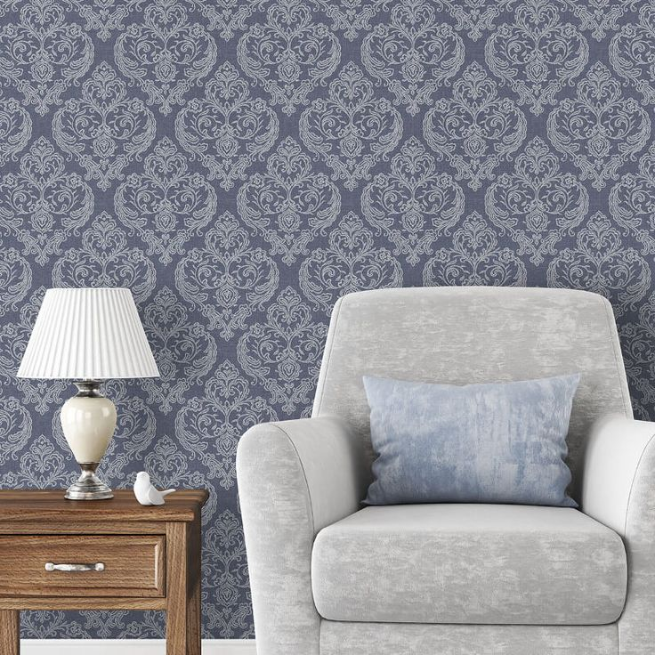 Crown Calico Damask Linen Blue Wallpaper - http://godecorating.co.uk/crown-calico-damask-linen-blue-wallpaper/