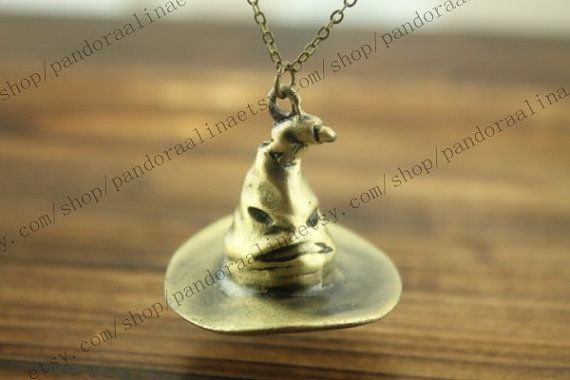 Hogwarts sorting hat necklace jewelry Harry potter jewelry steampunk style on Etsy, $4.50 Cute and queer. x