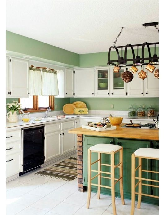White Kitchen Cabinets With Colorful Backgrounds