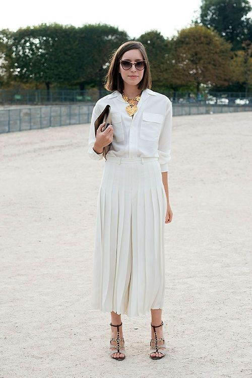 s white dress shirt white pleated midi skirt beige