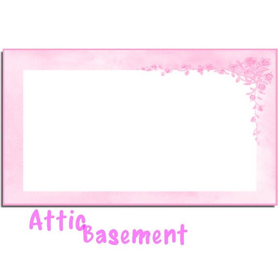 Pink Floral Border Placecard Card Label DIGITAL by AtticBasement, $4.00