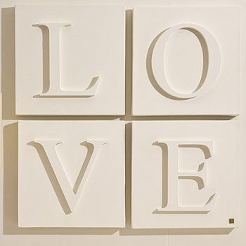 wood letters on canvas
