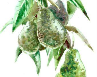 Verdure vegant di albero di avocado arte pittura parete arte cucina arte cibo ristorante verdure funghi 12 x 9 in