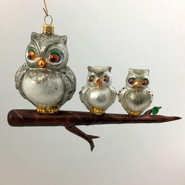 THREE OWLS-Glass Christmas tree ornament-handmade in Poland | eBay