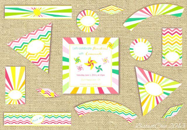 Sunshine & Lemonade party printables by BistrotChic ®