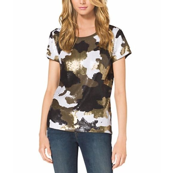NWT Michael Kors Sequin Camo Top ⚡️️FLASH SALE I got my hands on anther one of these beauties! Brand new with tags, SOLD OUT in stores. No missing or damaged sequin.   No Trading   Reasonable offers are welcome Michael Kors Tops