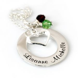 Moederketting - Big Eternity Circle met Hart en Geboortestenen
