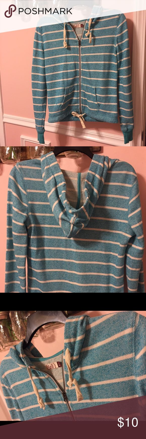 Blue and White Striped Zip Up Hoodie Cute blue and white stripe zip up hoodie. Cream colored drawstring both at the top and at the bottom. Great condition! SO Tops Sweatshirts & Hoodies