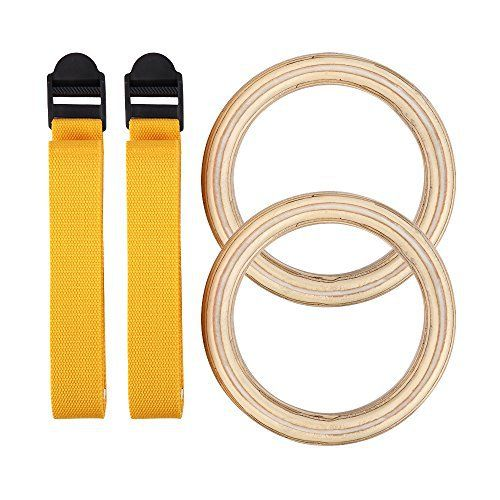 HappyPie 1 Pair Wooden Gymnastic Rings with Buckles Straps Strength Training for Children to Adult (Yellow) - http://www.exercisejoy.com/happypie-1-pair-wooden-gymnastic-rings-with-buckles-straps-strength-training-for-children-to-adult-yellow/fitness/