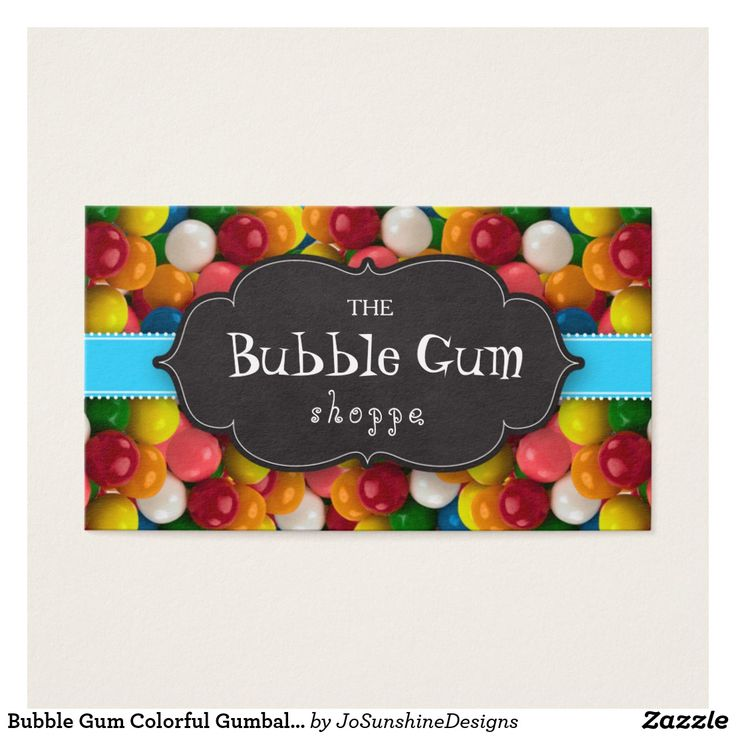 Bubble Gum Colorful Gumball Blue Stripe Chalkboard Business Card