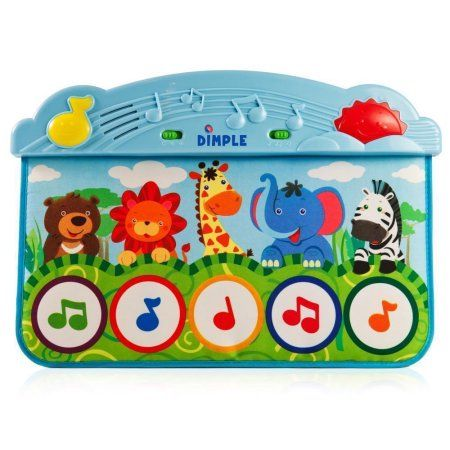 Animal Kick and Touch Musical Baby Piano Mat, Blue