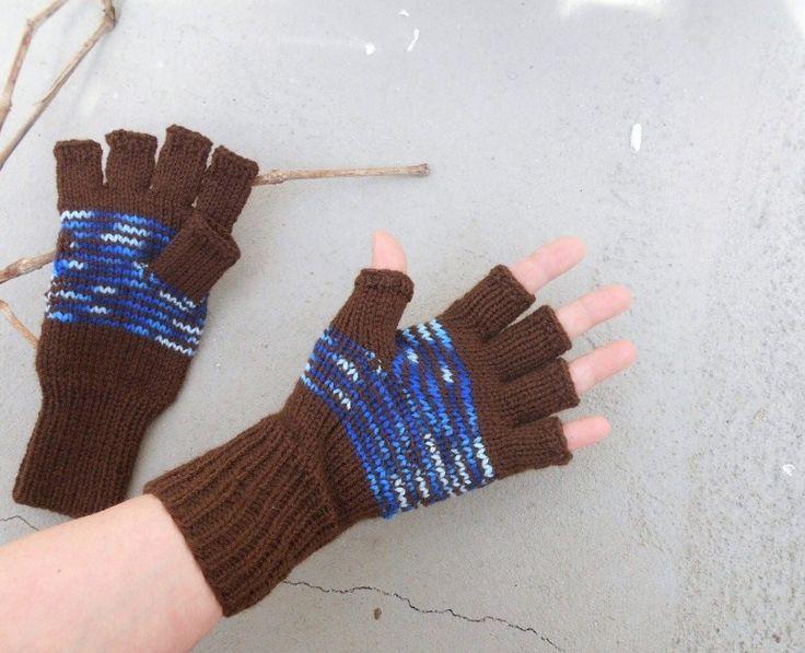 Rukavice+bezprsťáky+(obvod+dlaně+18+-+20+cm)+ručně+pletené+rukavičky+bezprsťáky+hnědá+++modrý+melír+velmi+pružné,+ze+zahrani…