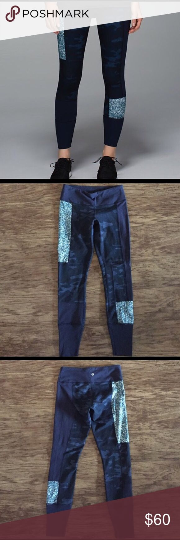 """Lululemon Wonder Under blue camo pant. Size 4. Lululemon Wonder Under blue camo pant. Size 4. 7/8"""" length. Overall good used condition. Has been worn and washed many times but has held up well with lots of wear left. lululemon athletica Pants Track Pants & Joggers"""