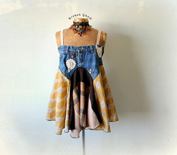 Denim Hippie camicia Upcycle moda Boho Chic Abbigliamento