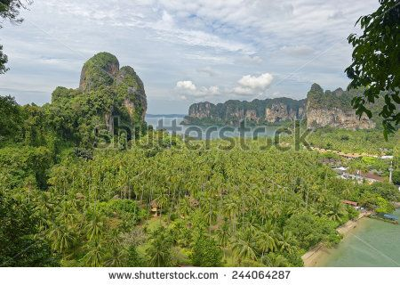 http://www.shutterstock.com/pic-244064287 Thailand, Railay Beach From One Of Two View Point Hike,S Through It Cliff Like Mountain Forests. Below You Can See Two Of Its Three Tropical Beach Bays And Palm Tree Forests In Between Stock Photo 244064287 : Shutterstock #thailand #stockphoto #thailandphoto #stockimage #thailandstock