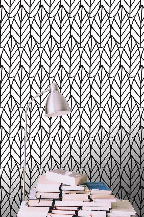 Create A Captivating Look For Your Walls With This Black And White Leaf Print Removable Wallpaper Accentwall Accent Accent Wall Living Room Decor White Leaf
