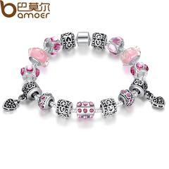 Aliexpress TOP Sell Silver Charm Bracelet & Bangle for Women With Pink Glass Beads Jewelry PA1393