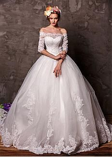 Marvelous Tulle Off-the-Shoulder Neckline Ball Gown Wedding Dress with Lace Appliques