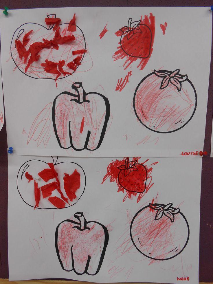 Thema Rood - scheuren en kleuren met rood (papier, stift, kleurpotlood en wasco)