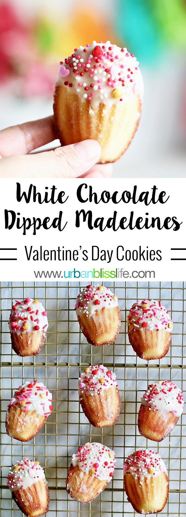 White Chocolate Dipped Valentine Madeleine Cookies are soft, pillowy tea cakes with slightly crisp edges, decorated and perfect for Valentine's Day! Get the recipe on UrbanBlissLife.com #madeleines #cookies #teacakes #dessert #foodblog #foodblogger #chocolate