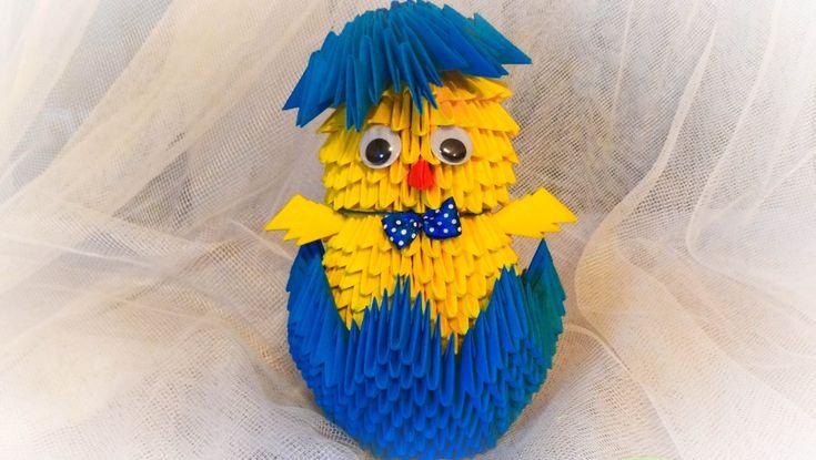 origami kurczak 3D / how to make a chick DIY wielkanocny tutorial