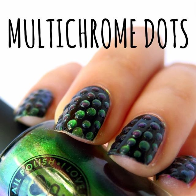 Magical polka dots!  ✨ Starring: ✨ black @chinaglazeofficial 'liquid leather' ✨ multichrome @ilnpbrand 'mutagen' ✨ hybrid gel topcoat @victoriavynn  and non acetone nailpolish remover. Inspired by @yagala #31dc2016 day 11 polka dots.  Full video on YT ➡️link in bio⬅️ Follow #31dc2016theCieniu for more