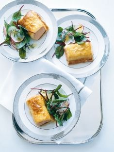 salmon with radish and cucumber salad - dressing is tasty for salmon ...