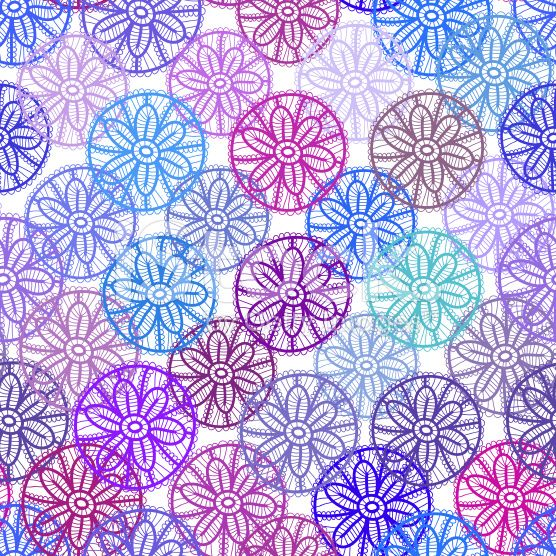 Lace seamless pattern with lilac pink purple blue flowers royalty-free stock vector art