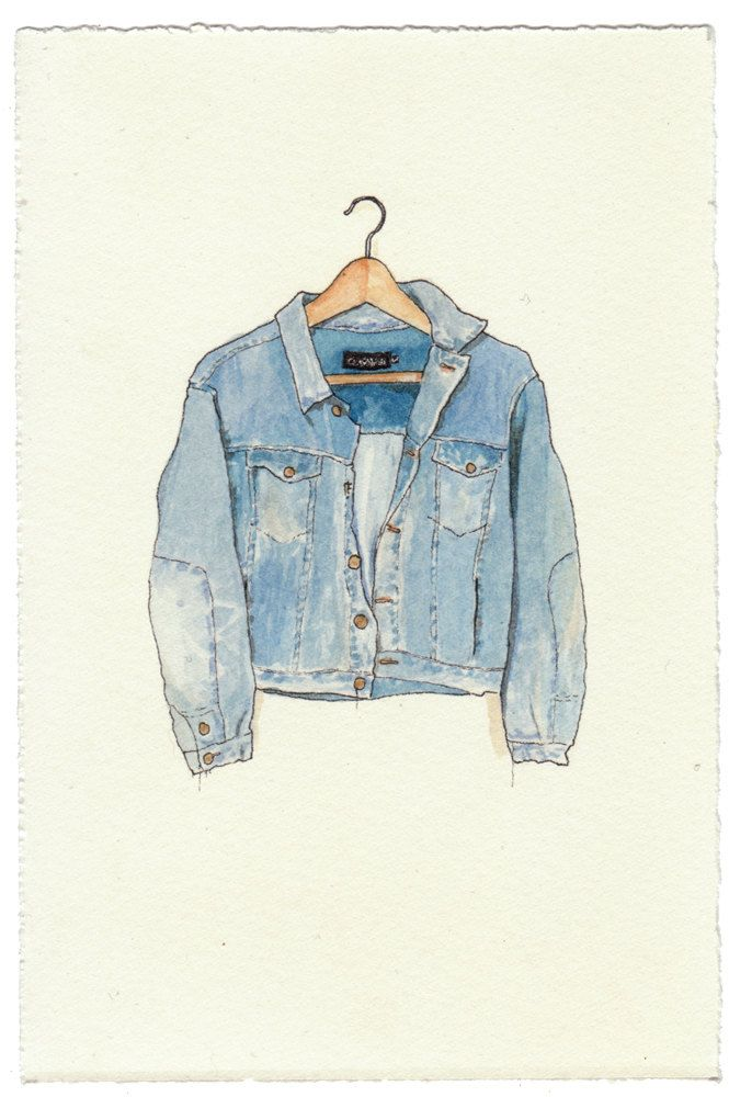 NEW/ORIGINAL Watercolor Illustration - Worn In Blue Grunge Denim Jean Jacket III. $80.00, via Etsy.