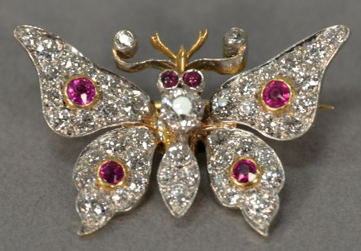 14K gold and platinum butterfly pin, fully set with diamonds and rubies. wd. 1 in.; ht. 3/4 in ~ Realized Price $1020.00 #nadeausauction