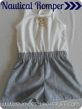 DIY Nautical Rompers:. DIY Clothes DIY Refashion #diy #clothes Could use extra nautical fabric from dresses for girls