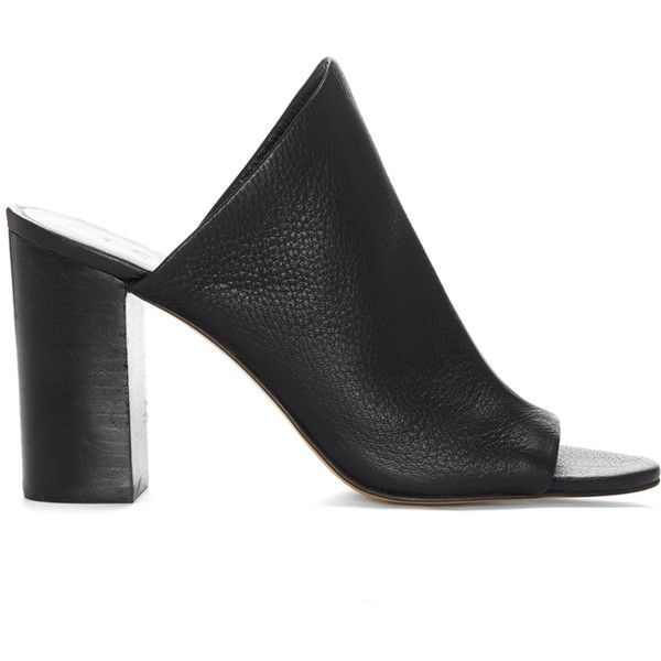1. State Sloan Slip On Mule Sandal found on Polyvore featuring shoes, sandals, heels, mules, zapatos, black, leather slip on sandals, black leather sandals, black slip-on shoes and leather heeled sandals