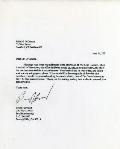 BRUCE HARWOOD Hand Signed Letter to a Fan - UACC RD#289 E…