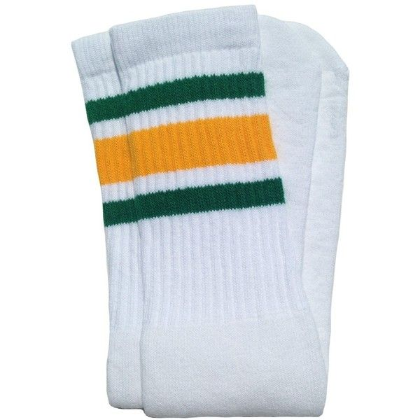 "Amazon.com : Skater Socks 19"" Mid calf White tube socks with... (34.415 COP) ❤ liked on Polyvore featuring intimates, hosiery, socks, sport socks, green tube socks, green striped socks, stripe socks and striped socks"