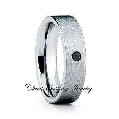 Black Diamond Brushed Tungsten Wedding Ring Comfort Fit Ring
