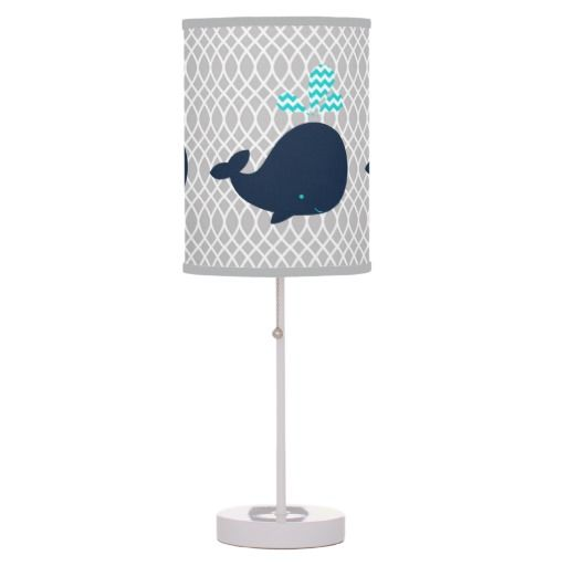 gray navy and turquoise nursery, whale | Navy Blue Whales on Gray Table Lamp