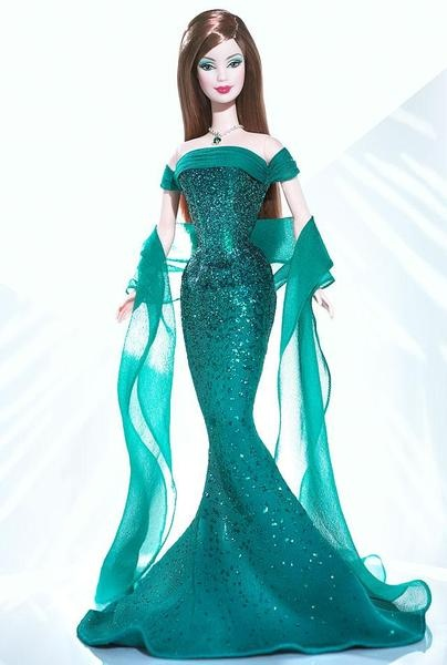 May Emerald™ Barbie® Doll    @Rebecca Harrington - this barbie is your birthday doll and LOOKS like YOU!!!!!  :): Emeralds Barbie, Birthstones Barbie, Barbie Collector, Emeralds Birthstone, Barbie Birthday Dolls 2004, Barbie Collection, Barbie Dolls, Barbie Birthstones, Birthstones Collection