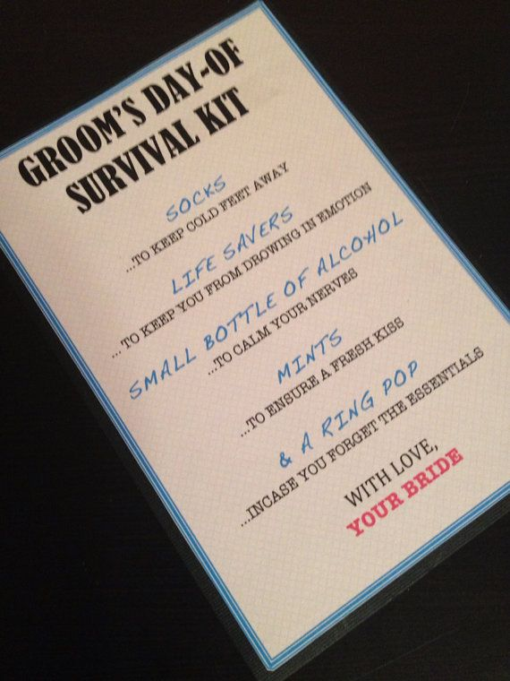 Grooms Survival Kit  5x7  Postcard  Hard Copy by NiftyNeatThings, $2.50