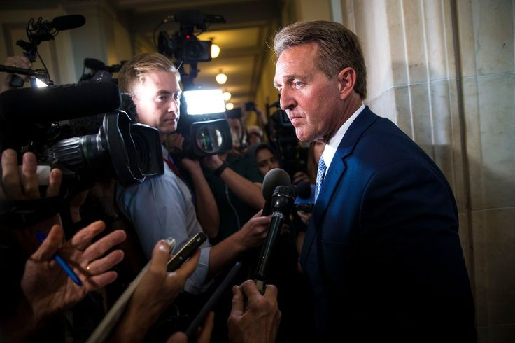 """""""RIGHT AND LEFT REACT TO JEFF FLAKE'S  DENUNCIATION OF TRUMP."""" Writers from across the political spectrum consider the Arizona senator's fiery words about the president."""