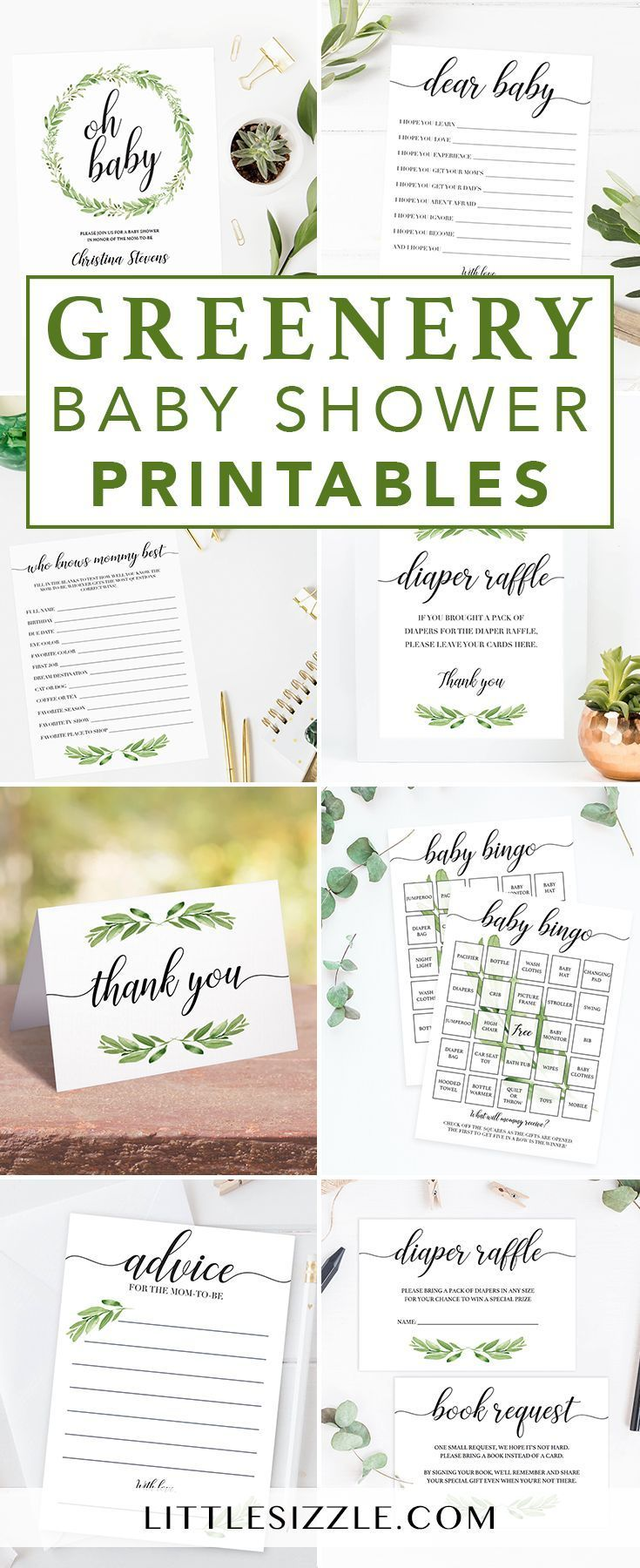 Greenery themed baby showers are on trend at the moment and we can totally understand why. Find unique ideas and printables for your greenery themed baby shower. Green Leaf baby shower games and green baby shower invitations by LittleSizzle. A greenery&#1