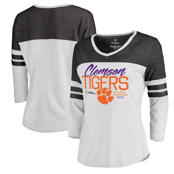 Women's Fanatics Branded White Clemson Tigers College Football Playoff 2016 National Champions Field Goal Tri-Blend V-Neck Raglan Sleeve T-Shirt